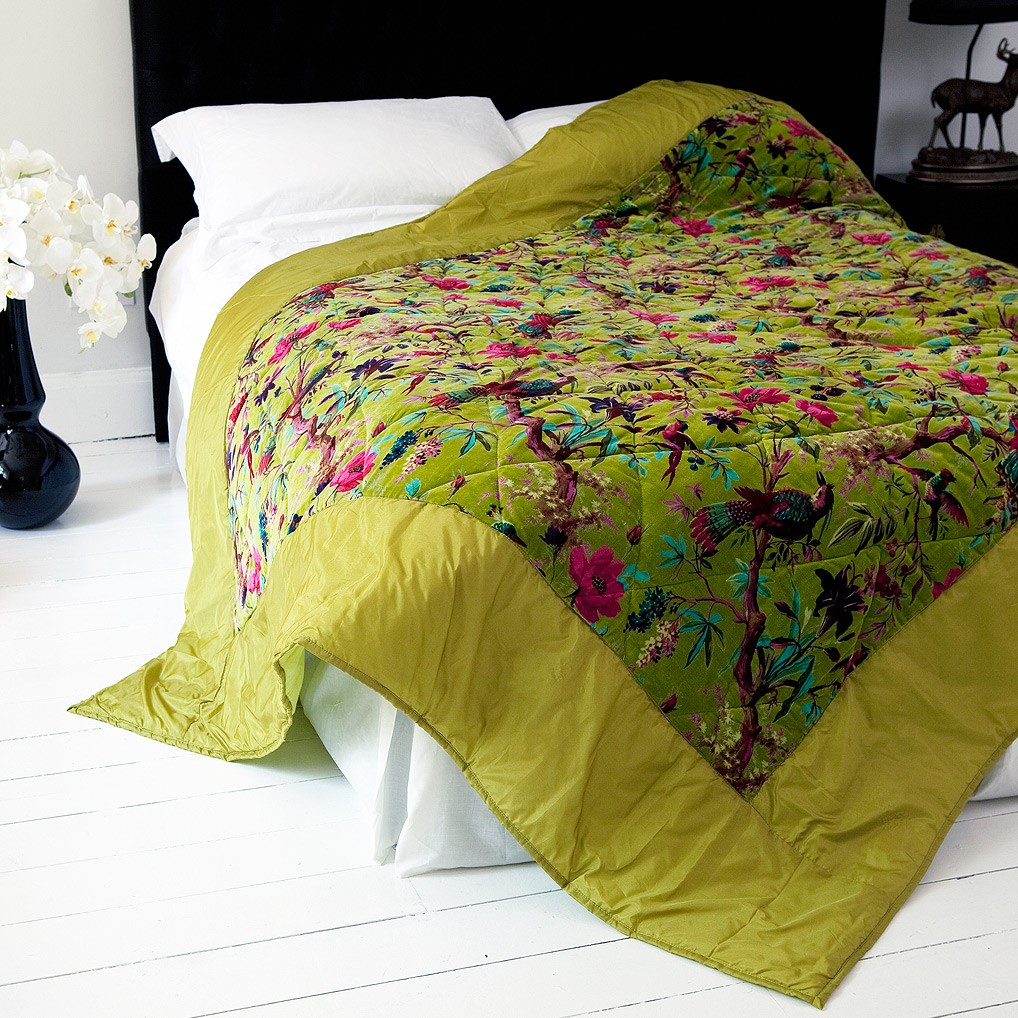 Trippy Granny Pyschedelic Bird Of Paradise Bedspread