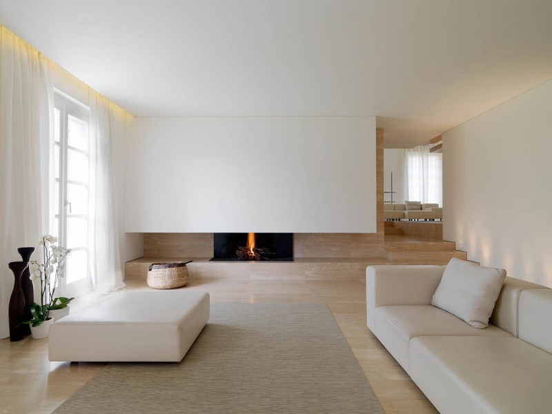 Minimalist Interior Renovation in Tuscany by Victor Vasilev Contemporary Fireplace  Minimalist Interior in Tuscany  Italy by Victor  Vasilev