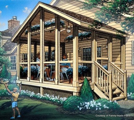 Screened In Porch Plans to Build or Modify Family Plans Screened Porch Plan  85933
