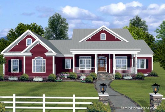 Ranch Style House Plans   Fantastic House Plans Online   Small House     ranch home graphic showing front porch and faux dormers from plan 74834 Family  Home Plans
