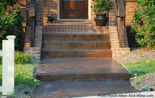Walkway Ideas To Create Exquisite Curb Appeal | Stone Front Porch Steps Designs | House | Stained Concrete | Round | Stone Walkway | Flagstone