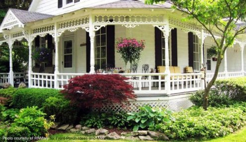 Country Style Porches   Wrap Around Porch Ideas   Country Porch Ideas Elegant wraparound porch on this country style home