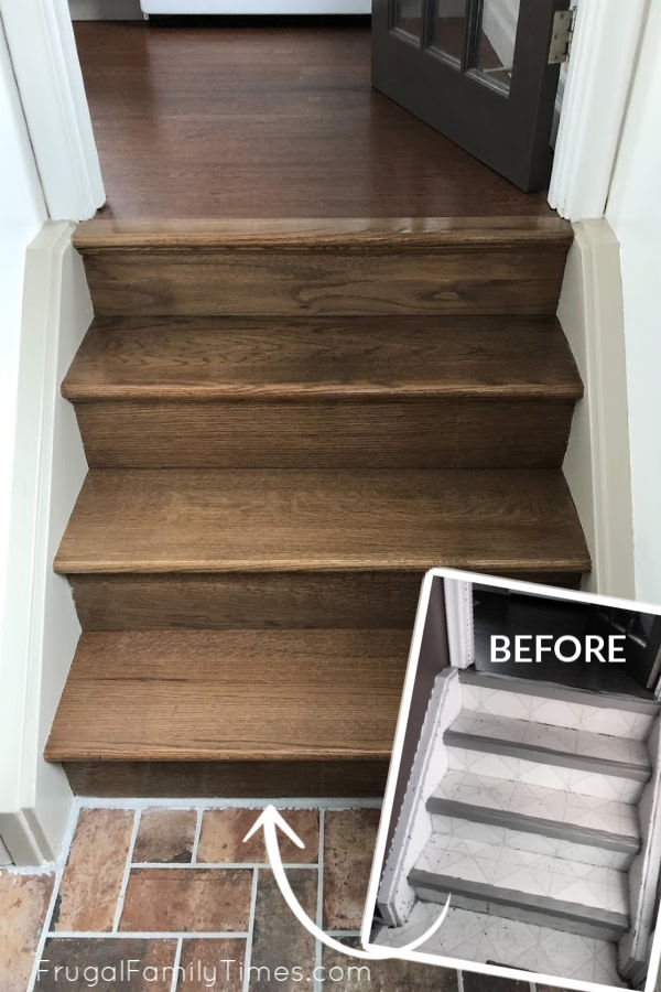Diy Stairs Makeover How To Install Wood Treads Risers Over Old | Hardwood Treads And Risers | Stair Nosing | Carpet | Hardwood Flooring | Red Oak | Stair Tread