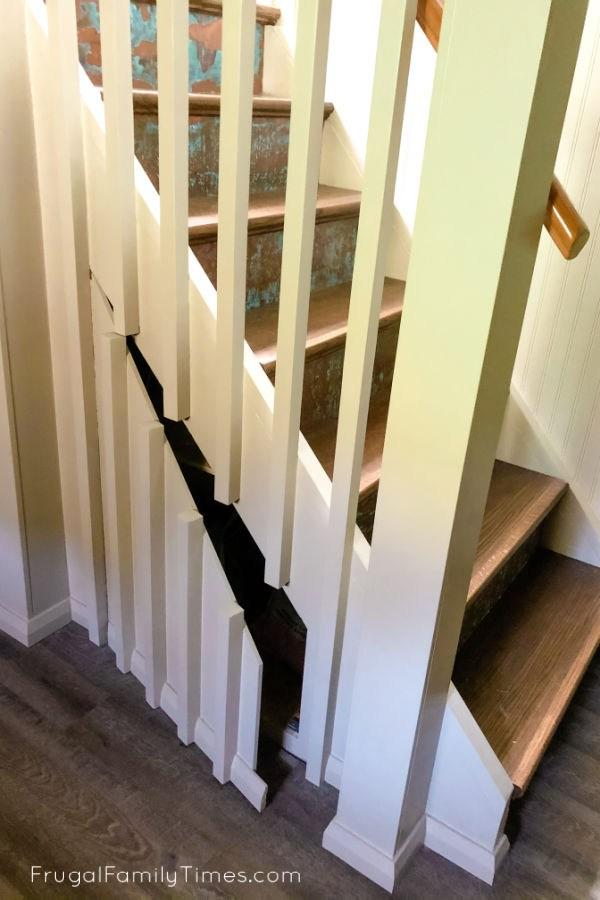Hidden Storage Under Stairs With Modern Diy Basement Railing | Modern Under Stairs Storage | Hallway Understairs Storage | Grey | Home Stair | Bajo | Minimal