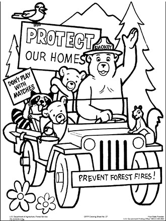 smokey the bear coloring pages # 2
