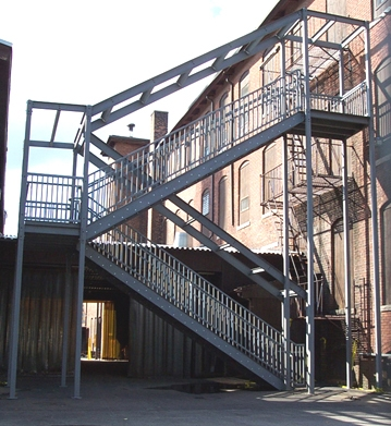 Ibc Prefab Steel Stairways   Pre Built Stairs Outdoor   House   Stand Alone   Outside   Building   Cement