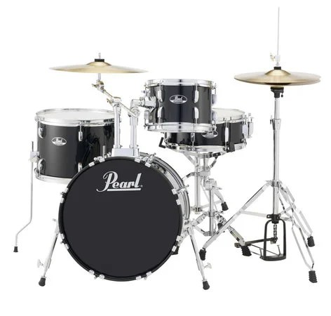 5 Piece Drum Set in Jet Black with Cymbals and Hardware by Pearl     Pearl Drums RS505C C31 5 Piece Drum Set in Jet Black with Cymbals and