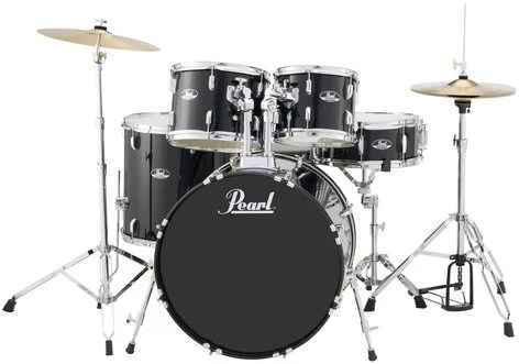 5 Piece Roadshow Series Drum Set in Jet Black with Cymbals and     Pearl Drums RS525SC C31 5 Piece Roadshow Series Drum Set in Jet Black with