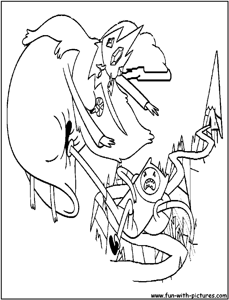 Adventuretime iceking finn coloring page