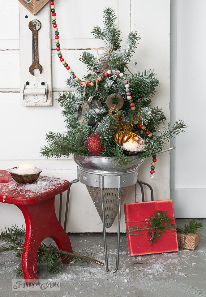Faux To Real Mini Christmas Tree In A Strainer Wood