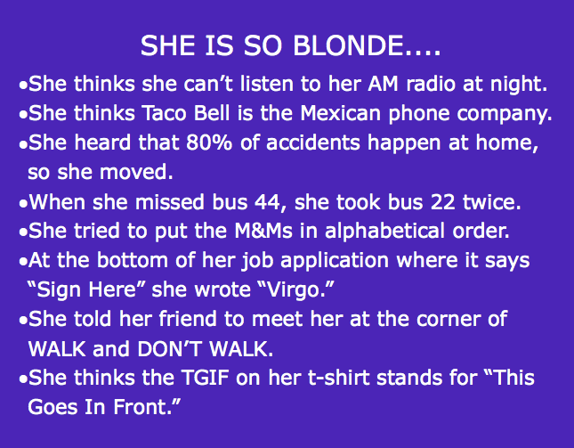 Very Funny Blonde Jokes Clean