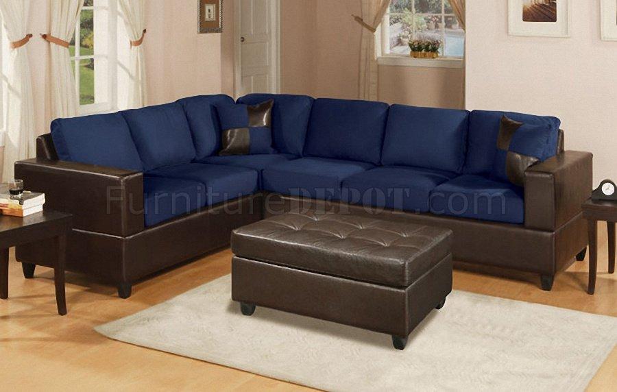 Navy Ottoman Leather Blue