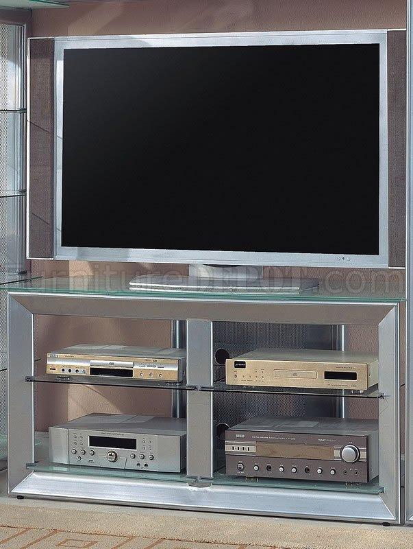 Silver Color Contemporary Tv Stand W Glass Shelves