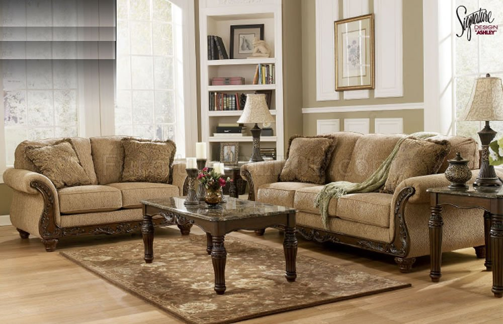 Amber Chenille Fabric Sofa   Loveseat Set by Ashley Design