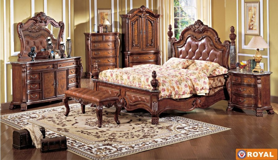 Rich Cherry Finish Leather Upholstered Elegant Bed w Options