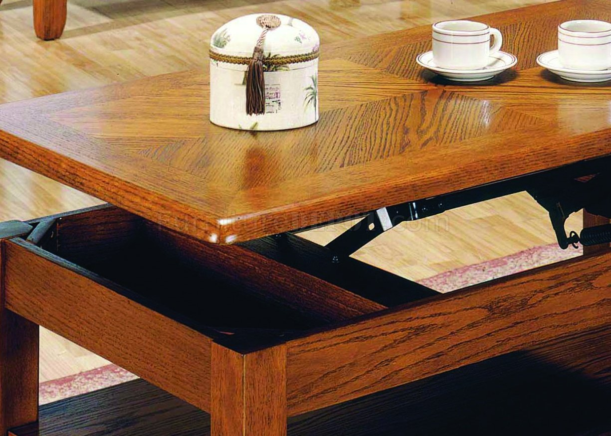 Oak All Wood Contemporary Ocassional Cocktail Table W Lift Top