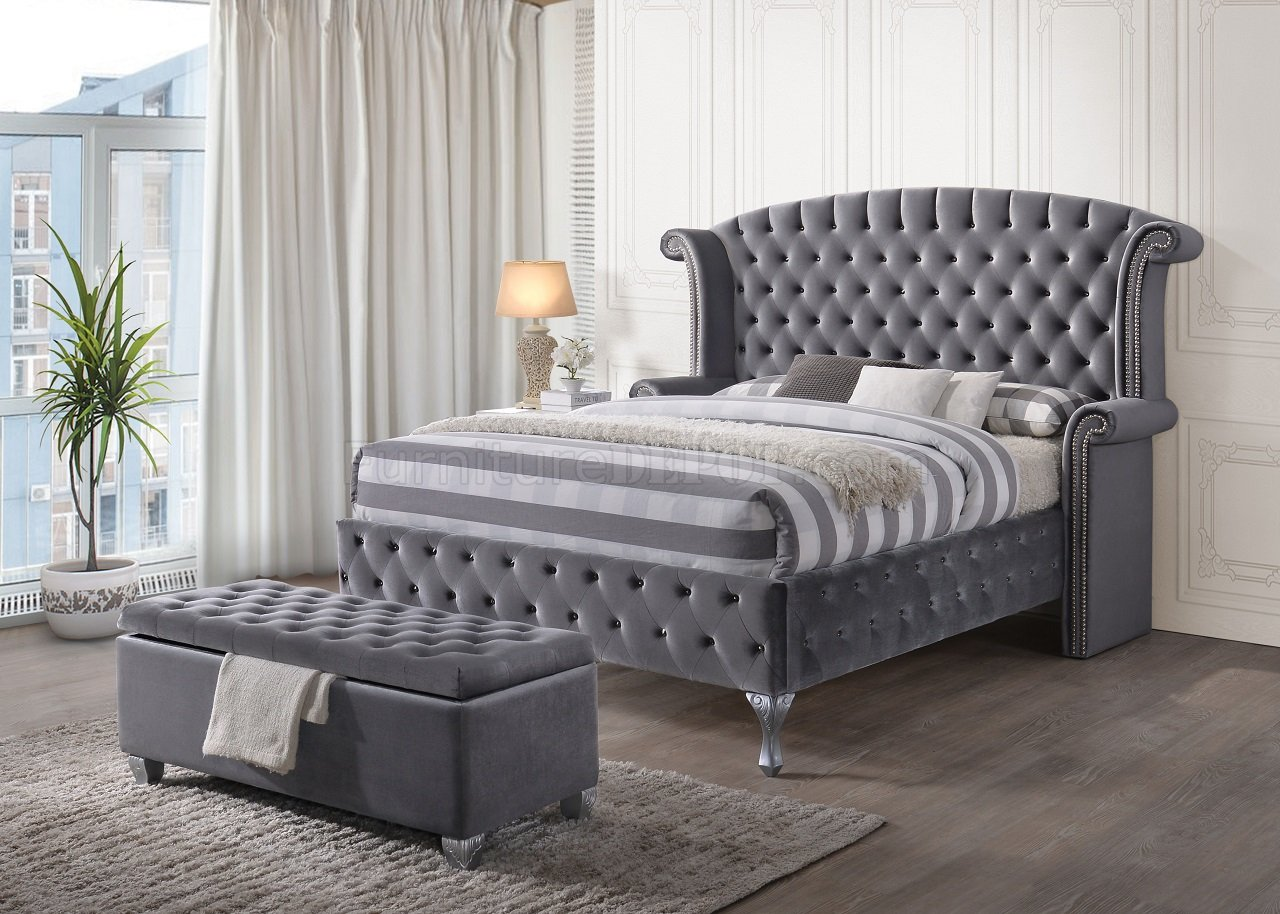 Rebekah Upholstered Bed 25820 In Gray Fabric By Acme W Options