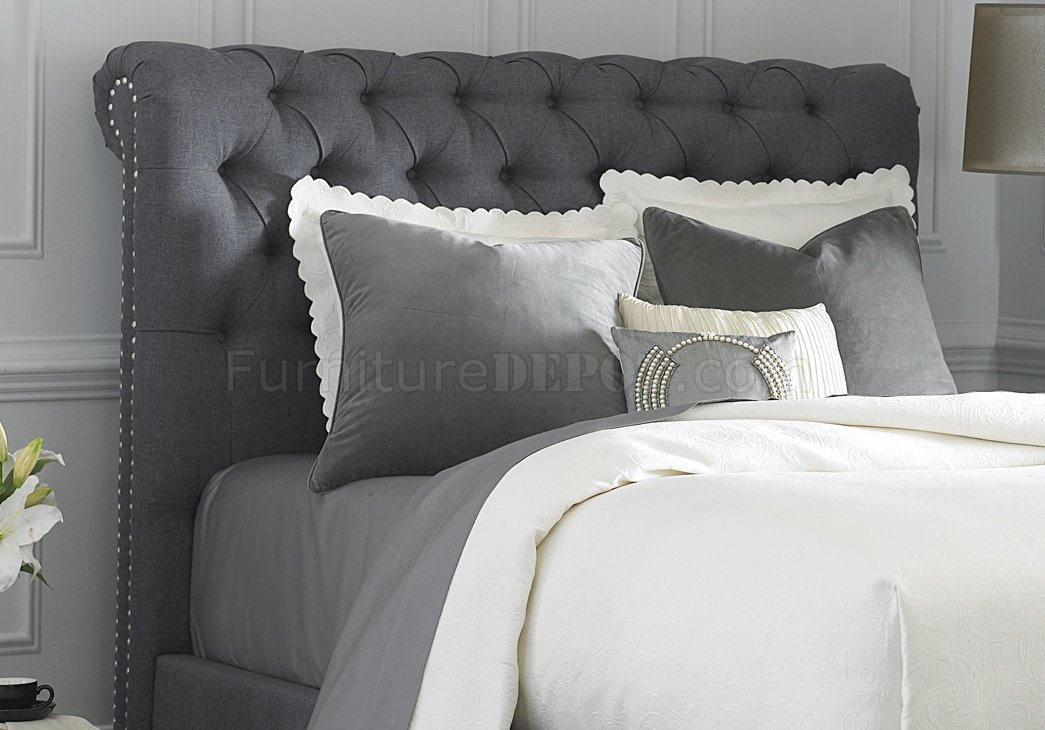 150 Br Upholstered Sleigh Bed In Dark Gray Fabric By Liberty
