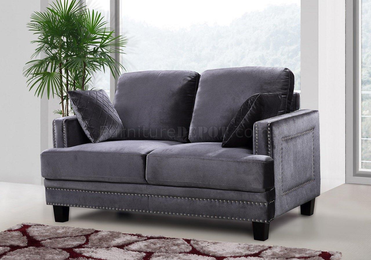 Ferrara Sofa 655 In Grey Velvet Fabric W Optional Items