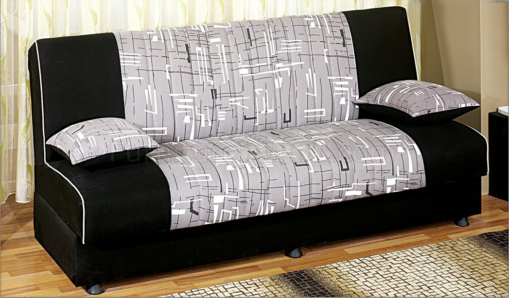 Detroit Tri Tone Fabric Convertible Sofa Bed W Storage Space