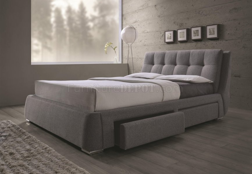 Fenbrook 300523 Upholstered Bed in Grey by Coaster w Storage