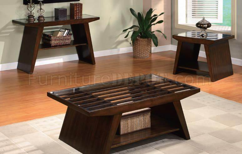 Dark Brown Finish Modern Coffee Table W Clear Glass Top