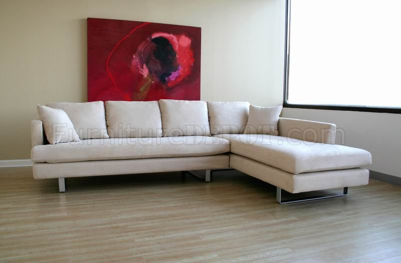 Sectional Fabric Chaise White Sofa