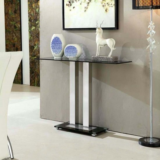 Jet Modern Console Table Rectangular In Black Glass 27425