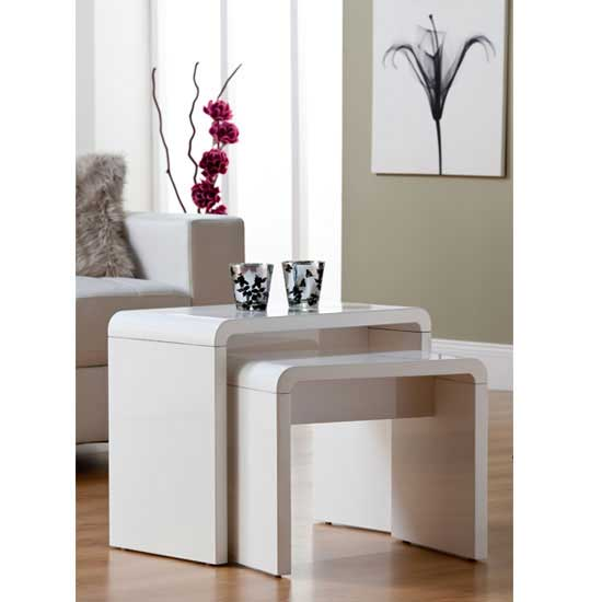 Toscana High Gloss Nest Of Tables In White Furniture In