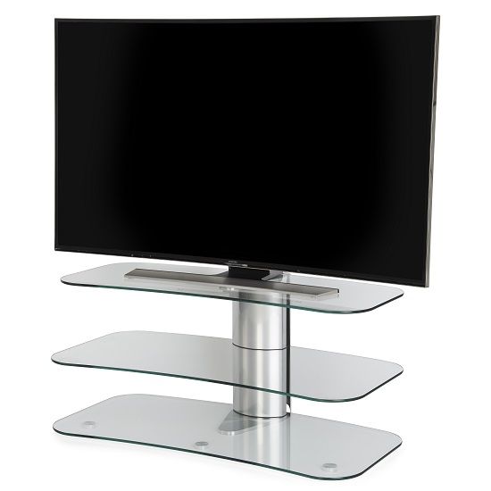 Coaster Glass Tv Stand In Clear With Chrome Supports 31350