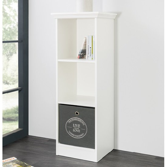 Country Short Narrow Bookcase In White With 2 Shelf 28299