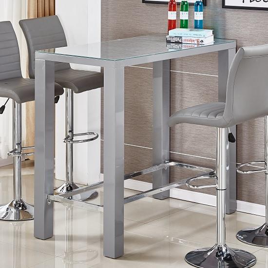 Jam Glass High Bar Table Rectangular In Grey High Gloss