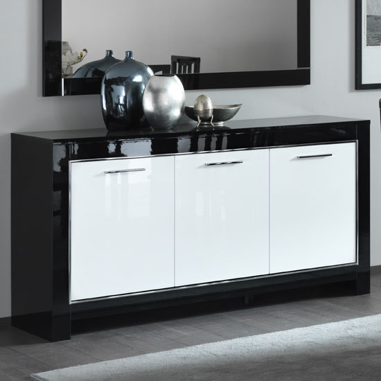 Lorenz Sideboard In Black And White High Gloss With 3 Doors