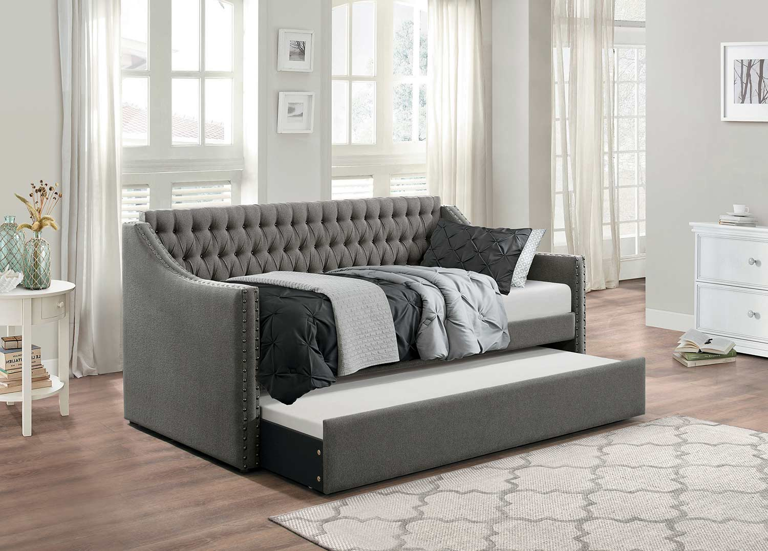 Homelegance Tulney Dark Gray Button Tufted Upholstered