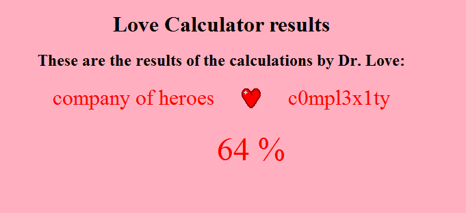 Eastenders Games Love Calculator