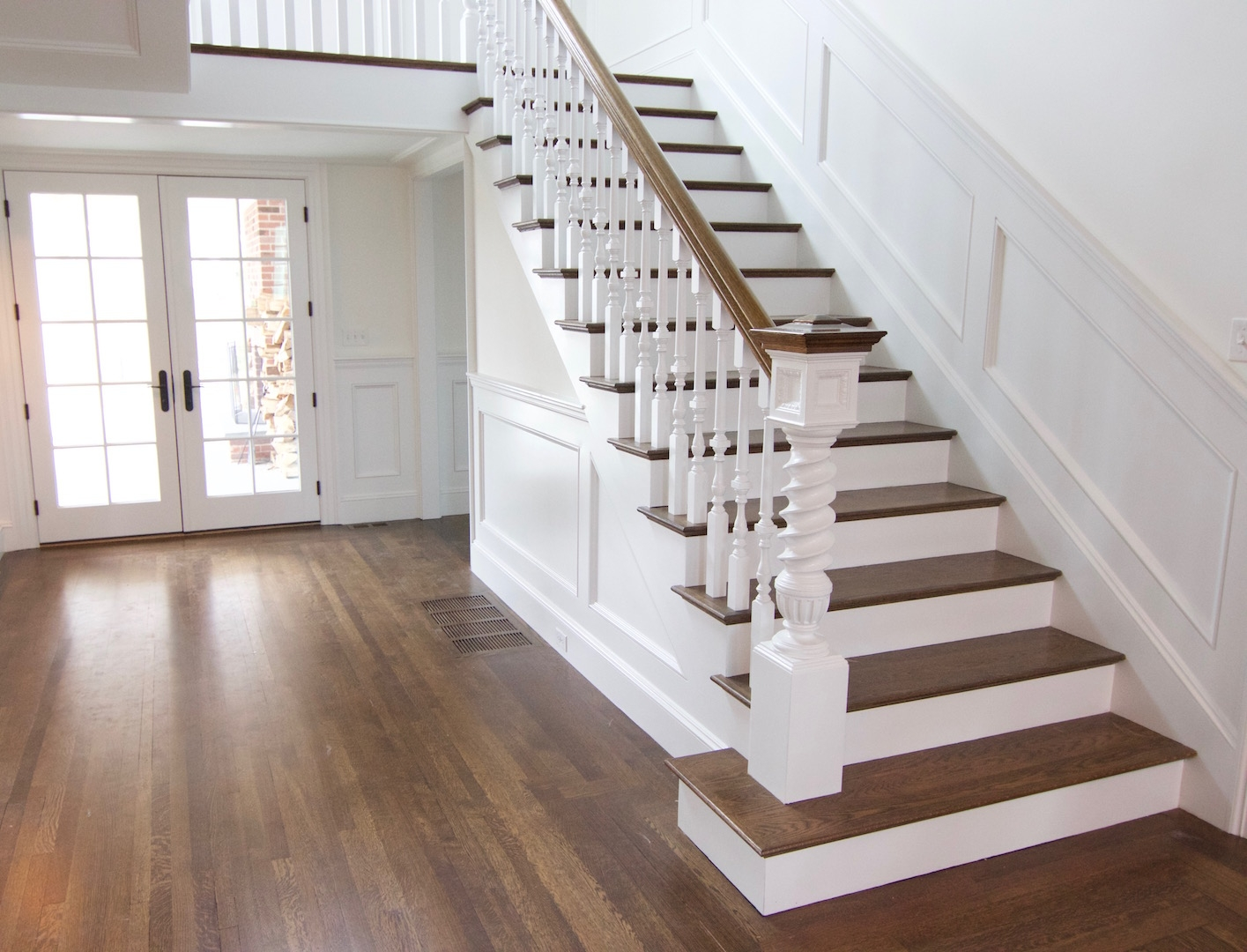 Hardwood Stairs Gandswoodfloors   White Stairs With Wood Steps   Light Wood   White Riser   Outdoor   Dark   Traditional