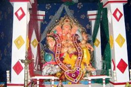 10 Simple Ganpati Decoration Ideas for your home     Part 1 Ganpati Decoration Ideas Ribbons Laces Borders Ganpati Decoration Ideas  Pandal Ribbons Laces Borders