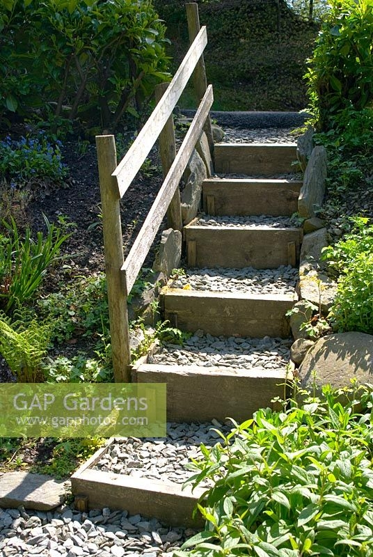 Garden Steps Made Of Stock Photo By Fiona Lea Image 0151390   Wooden Handrail For Garden Steps   Stone Step   Free Standing   Metal   Wrought Iron   Front Door Step