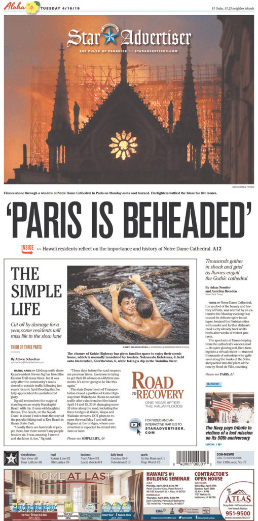 The Notre Dame Fire The Us Newspaper Front Pages Garc 237 A