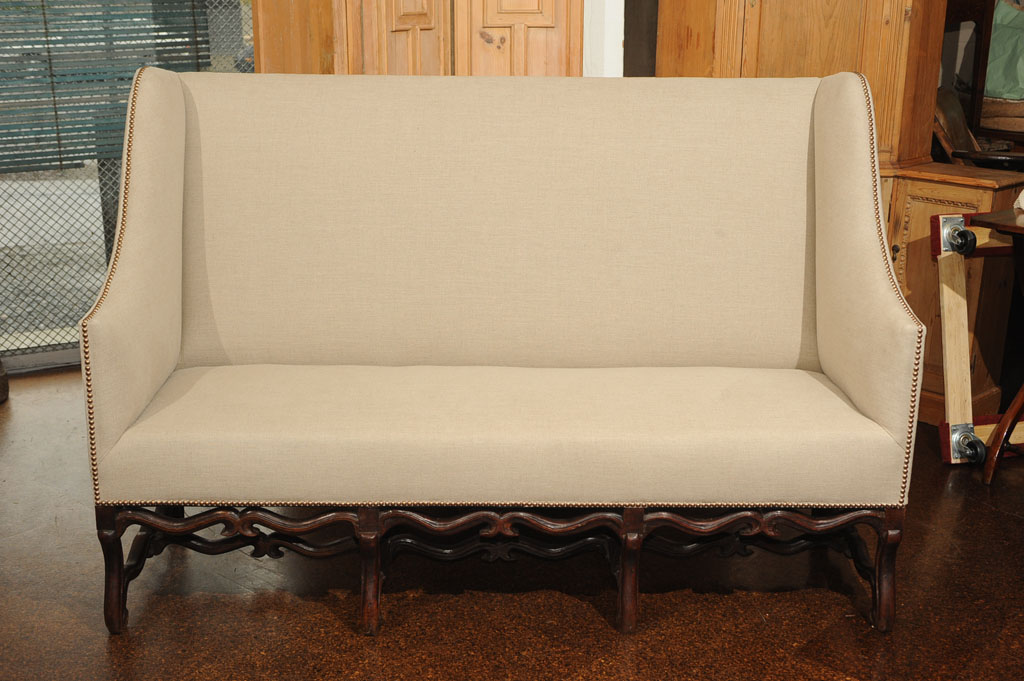 17th Century High Back Sofa With Carved Walnut Base