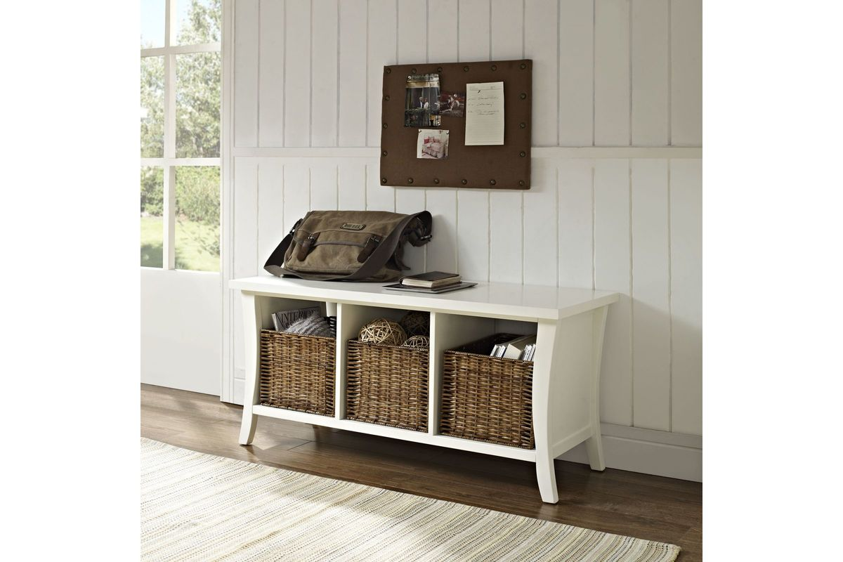Wallis Entryway Storage Bench In White By Crosley At