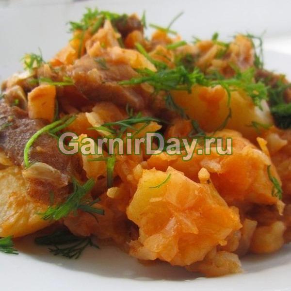 Традиционная картошка  с капустой в казанке