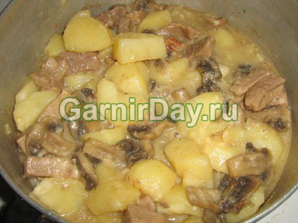 Cartofi de tocană cu carne și ciuperci