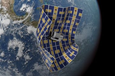 An artist's rendition of a Brane Craft capturing space debris. The Aerospace Corporation