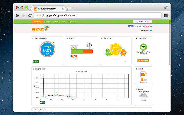 Efergy Monitoring on desktop
