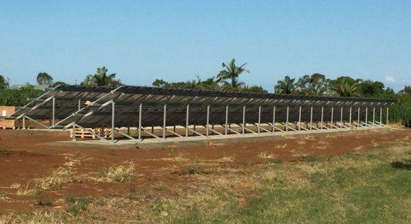 Concrete ground-mounted PV Installation - Back