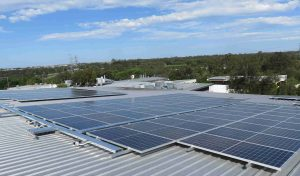 Industria REIT's Commercial Solar Installation at Brisbane Technology Park, Eight Mile Plains. Components are solar panels by Canadian Solar.