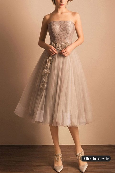 Vintage Lace Tea Length Wedding Dress