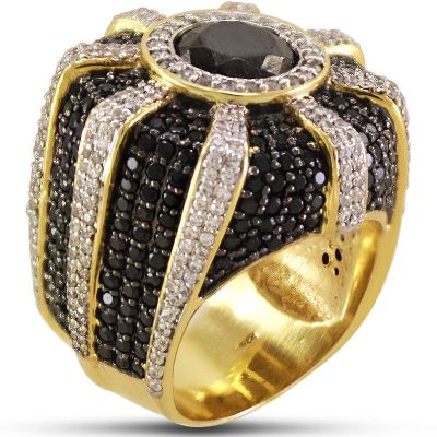 Men S Black Diamond Pinky Ring Looking Gorgeous With Two Tone Stone