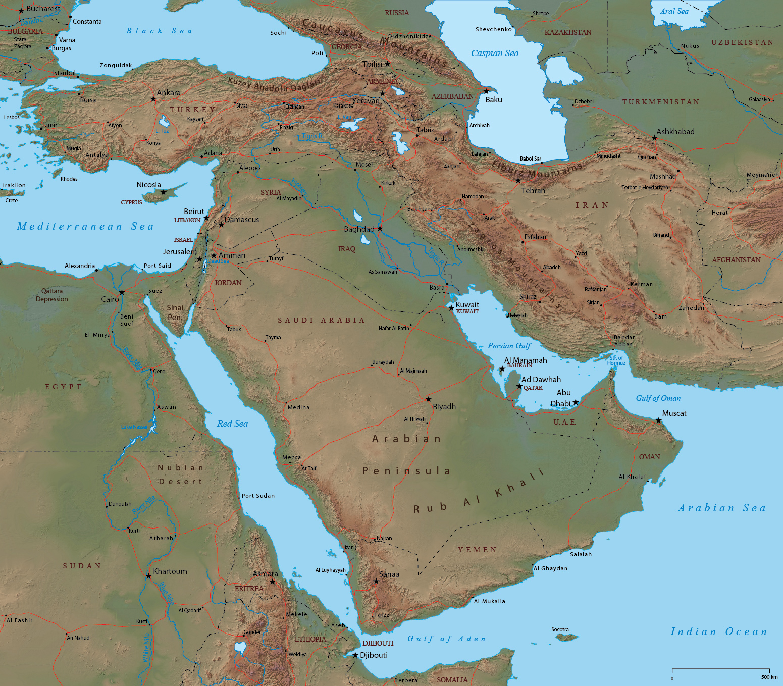 Persian Gulf   Map Middle East Countries in Asia  Jordan  United Arab Emirates  Kuwait  Yemen  Oman  Saudi  Arabia  Iran  Qatar and Iraq  Cities of Mecca  Abu Dhabi  Doha  Jerusalem  and